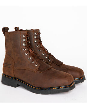 "Cody James Men's 8"" Lace Up Kiltie Waterproof Work Boots - Composite Toe, Brown, hi-res"