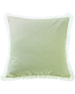 HiEnd Accents Cream Tan Burlap with Off-White Lace Trim Square Pillow, , hi-res