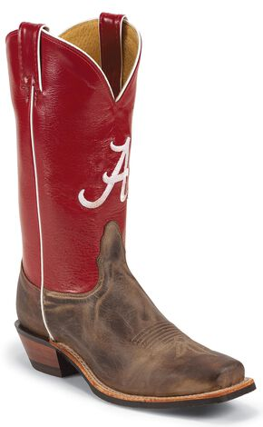 Nocona Men's University of Alabama College Cowboy Boots - Square Toe, Tan, hi-res