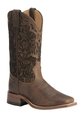 Boulet Hand Tooled Shaft Cowgirl Boots - Square Toe, Tobacco, hi-res