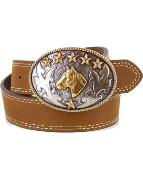Cody James Boys' Tan Horse Head Buckle Belt , Tan, hi-res