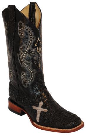 Ferrini Men's Black Caiman Print Western Boots - Square Toe , Black, hi-res