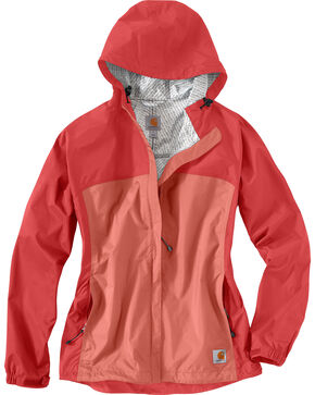 Carhartt Women's Coral Mountrail Waterproof Rain Jacket, Coral, hi-res