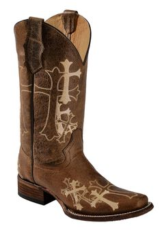 Circle G Cross Embroidered Cowgirl Boots - Square Toe, , hi-res