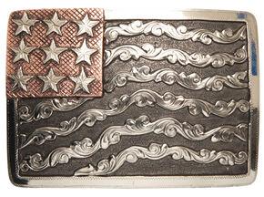 AndWest Denali Vintage American Flag Belt Buckle, Multi, hi-res