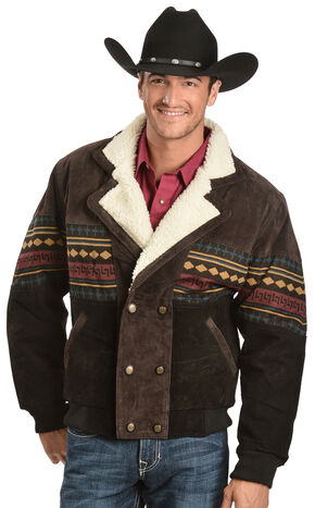 Red Ranch Aztec Border Jacket, Brown, hi-res