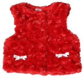 Wrangler Toddler Girls' Red Fur Vest, Red, hi-res