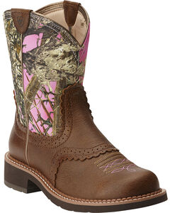 Ariat Fatbaby Vintage Bomber Pink Camo Cowgirl Boots - Round Toe, , hi-res