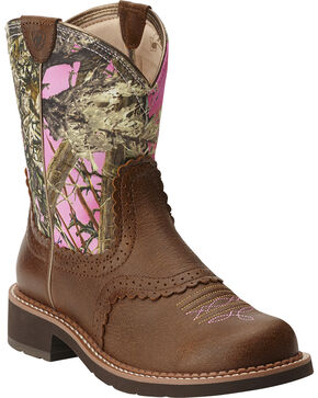 Ariat Women's Fatbaby Vintage Bomber Pink Camo Cowgirl Boots - Round Toe, Brn Bomber, hi-res