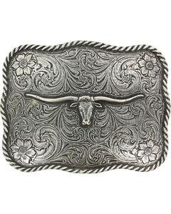 Cody James® Men's Texas Long Horn Belt Buckle, Silver, hi-res