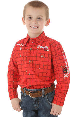Wrangler 20X Boys' Logo Shirt, Red, hi-res