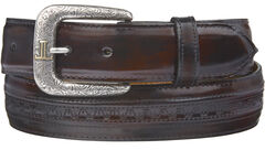 Lucchese Men's Black Cherry Goatskin Leather Belt, , hi-res