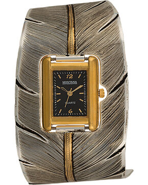 Montana Silversmiths To Fly With Strength and Grace Feather Cuff Watch, Multi, hi-res