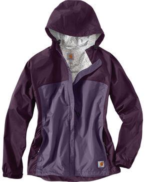 Carhartt Women's Purple Mountrail Waterproof Rain Jacket, Violet, hi-res