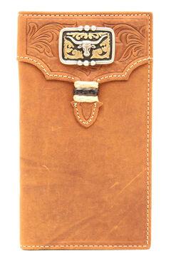 Nocona Men's Tan Leather Studded Longhorn Rodeo Wallet, , hi-res