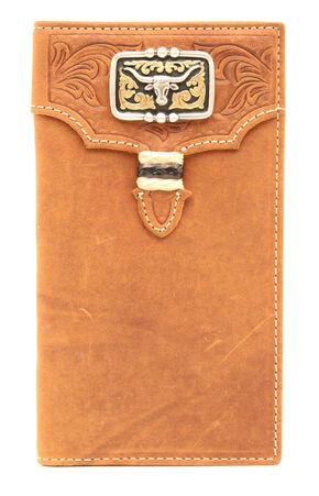 Nocona Men's Tan Leather Studded Longhorn Rodeo Wallet, Med Brown, hi-res
