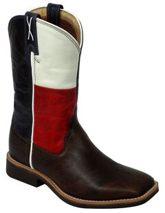 Twisted X Youth Texas Flag Cowkid Work Boots - Square Toe, Chocolate, hi-res