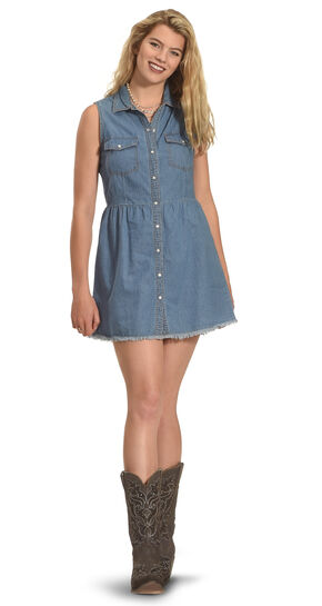 Derek Heart Women's Sleeveless Every Day Denim Shirt Dress - Plus Size, Dark Blue, hi-res