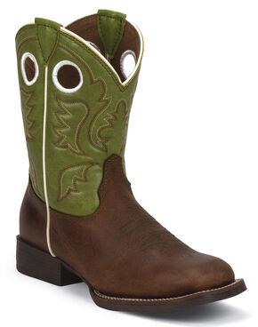 Justin Junior Cognac Ponteggio Bent Rail Cowboy Boots - Kid's Square Toe , Cognac, hi-res