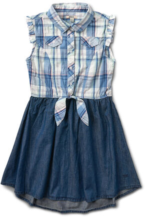 Silver Girls' Blue Half Plaid Dress, Blue, hi-res