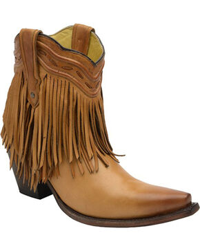 Corral Tan Fringe and Whip Stitch Short Boots - Snip Toe , Tan, hi-res