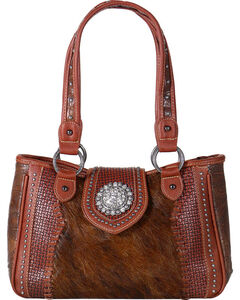 Shyanne Women's Embossed Hair-on-Leather Handbag, , hi-res