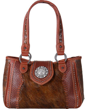 Shyanne Women's Embossed Hair-on-Leather Handbag, Brown, hi-res
