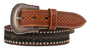 Nocona Barbed Wire Print Studded Concho Belt, Black, hi-res