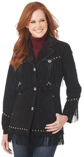 Cripple Creek Suede Leather Fringe Jacket, Black, hi-res