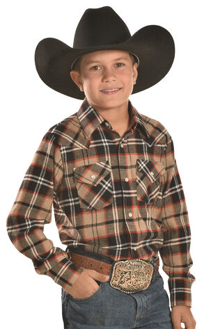 Ely Cattleman Boys' Brown Plaid Flannel Western Snap Shirt, Brown, hi-res