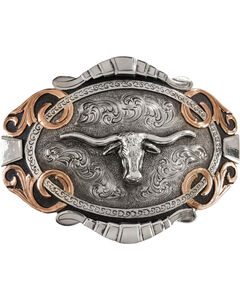 Stetson Two-Tone Longhorn Buckle, , hi-res