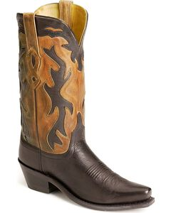 Old West black inlay cowgirl boots, , hi-res