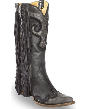 Corral Women's Studs and Side Fringe Cowgirl Boots - Snip Toe , Black, hi-res