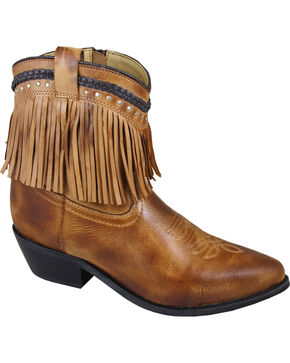 Smoky Mountain Torrance Fringe Short Boots - Pointed Toe, Tan, hi-res