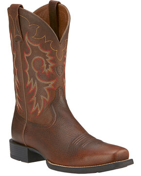 Ariat Heritage Reinsman Cowboy Boots - Square Toe, Brown, hi-res