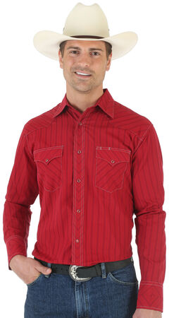 Wrangler Silver Edition Mitered Red Dobby Shirt, , hi-res