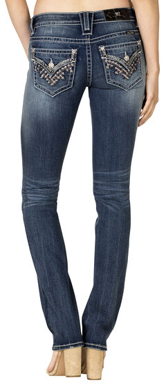 Miss Me Women's Dark Wash Flap Pocket Straight Jeans, , hi-res