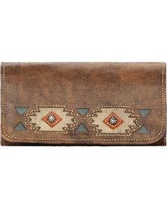 American West Women's Brown Native Sun Tri-Fold Wallet , , hi-res