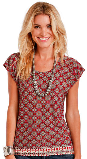 Panhandle Slim Women's Multi Diamond Border Print Top , Multi, hi-res