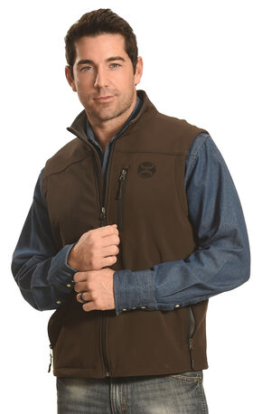 Hooey Men's Brown Logo Vest , Brown, hi-res