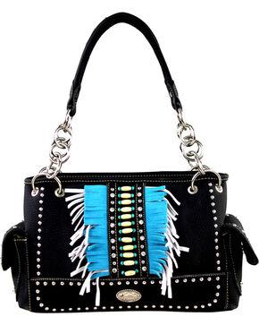Montana West Women's Indian Beaded Fringe Concealed Carry Handbag , Black, hi-res