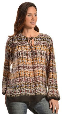 Red Ranch Women's Violet Bohemian Print Tie Blouse, , hi-res