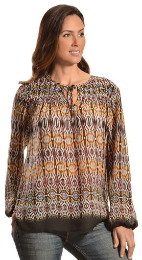 Red Ranch Women's Violet Bohemian Print Tie Blouse, Print, hi-res