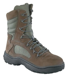 "Reebok Women's 8"" Lace-Up Side Zip Tactical Work Boots - Steel Toe, Sage, hi-res"