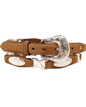 "Ariat 1 1/2"" Oval Concho Linked Belt, Tan, hi-res"