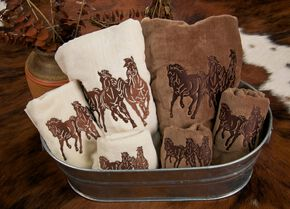 HiEnd Accents Three-Piece Embroidered Longhorn Bath Towel Set - Brown, Brown, hi-res