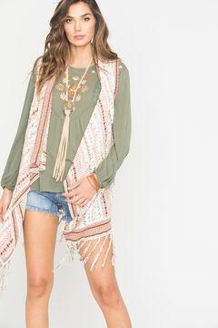 Miss Me Ivory Fringe Sweater Vest , , hi-res
