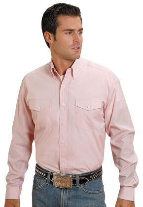 Stetson Solid Button Shirt, Pink, hi-res