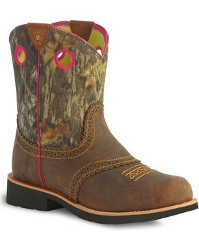 Ariat Fatbaby Girls' Camo Cowgirl Boots, Brown, hi-res
