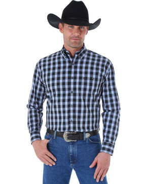 Wrangler George Strait Black & Blue Plaid Western Shirt, Black, hi-res